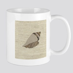 Stitched Faux Fabric Collage Seashell Conch Mugs