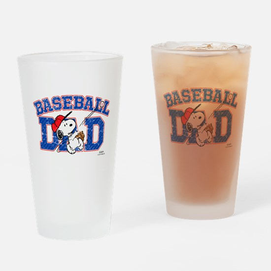 Snoopy Baseball Dad Drinking Glass