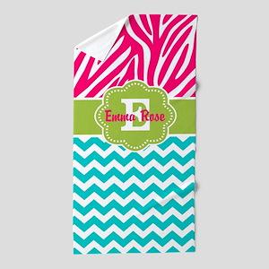 Pink Green Teal Zebra Personalized Beach Towel