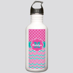 Pink Teal Quatrefoil Personalized Water Bottle