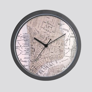 Vintage Map of New York City (1884) Wall Clock