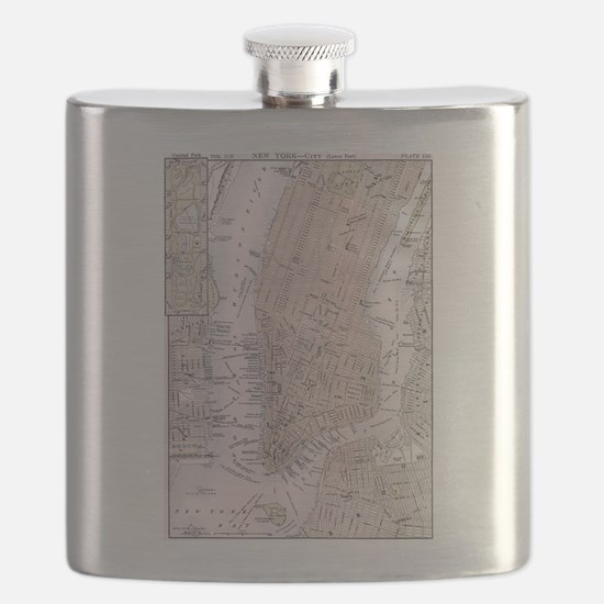 Vintage Map of New York City (1884) Flask