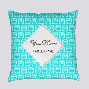 Aqua Turquoise Owl Pattern Persona Everyday Pillow