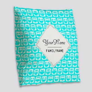 Aqua Turquoise Owl Pattern Per Burlap Throw Pillow