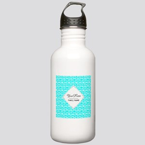 Aqua Turquoise Owl Pat Stainless Water Bottle 1.0L