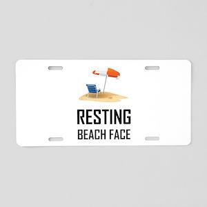 Resting Beach Face Aluminum License Plate