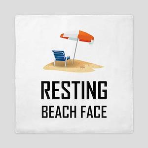 Resting Beach Face Queen Duvet