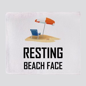 Resting Beach Face Throw Blanket