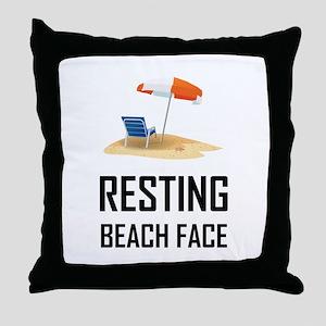 Resting Beach Face Throw Pillow