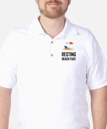 Resting Beach Face Golf Shirt