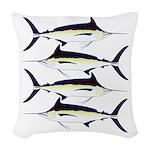 Black Marlin v2 Woven Throw Pillow