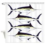 Black Marlin v2 Shower Curtain