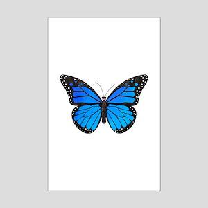 Blue Monarch Butterfly Watercolo Mini Poster Print