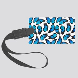 Blue Monarch Butterfly Pattern Large Luggage Tag