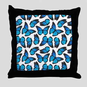 Blue Monarch Butterfly Pattern Throw Pillow