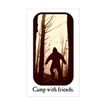 Camp with Bigfoot Rectangle Sticker