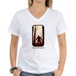 Camp with Bigfoot Women's V-Neck T-Shirt