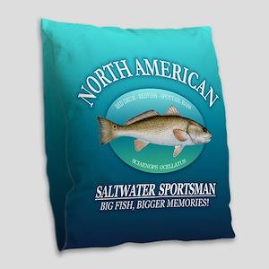 Nasm (redfish) Burlap Throw Pillow