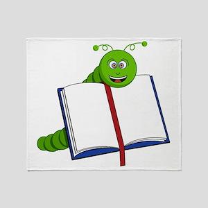 Cartoon Bookworm Throw Blanket