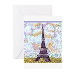 Eiffel Tower Pointillism by Kristie Greeting Cards