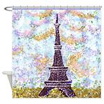 Eiffel Tower Pointillism by Kristie Shower Curtain