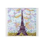 Eiffel Tower Pointillism by Kristie Throw Blanket