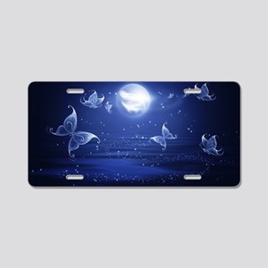 blue butterflies moon Aluminum License Plate