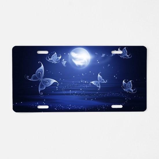 blue butterflies moon Aluminum License Plate