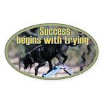 Success Dog Art Oval Sticker