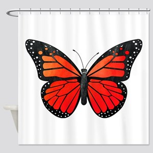 Red Monarch Butterfly Watercolor Shower Curtain