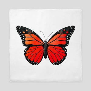 Red Monarch Butterfly Watercolor Queen Duvet