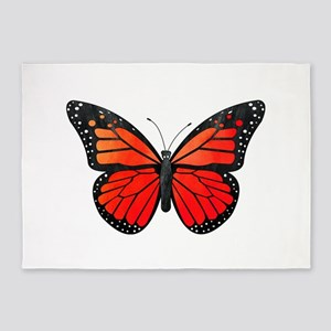 Red Monarch Butterfly Watercolor 5'x7'Area Rug