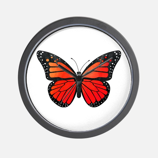 Red Monarch Butterfly Watercolor Wall Clock