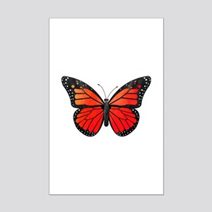 Red Monarch Butterfly Watercolor Mini Poster Print