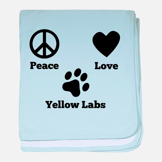 Peace Love Yellow Labs baby blanket