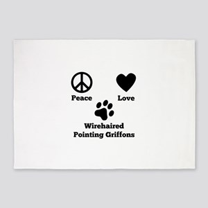 Peace Love Wirehaired Pointing Griffons 5'x7'Area