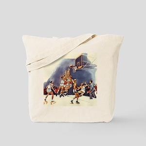 Vintage Sports Basketball Tote Bag