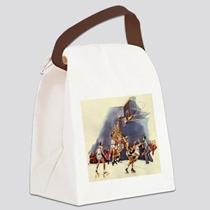 Vintage Sports Basketball Canvas Lunch Bag