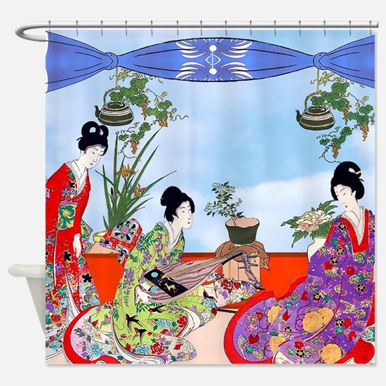 3 Geisha Musicians, Kimonos ! Shower Curtain