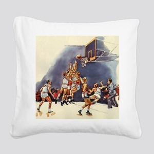 Vintage Sports Basketball Square Canvas Pillow