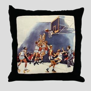 Vintage Sports Basketball Throw Pillow