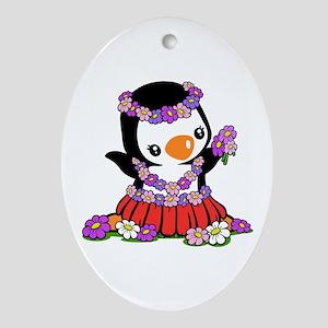 Aloha Penguin Ornament (Oval)