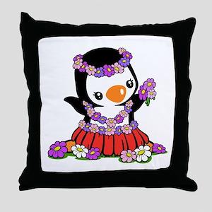 Aloha Penguin Throw Pillow