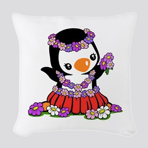 Aloha Penguin Woven Throw Pillow