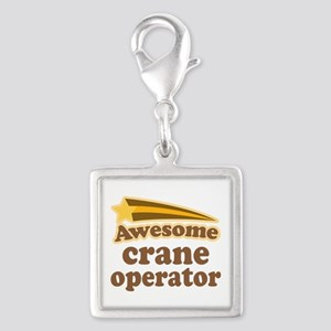 Awesome Crane Operator Silver Square Charm