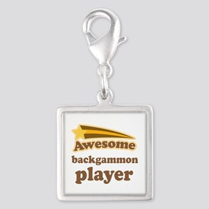 Awesome Backgammon Player Silver Square Charm