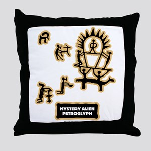 Mystery Alien Petroglyph Throw Pillow
