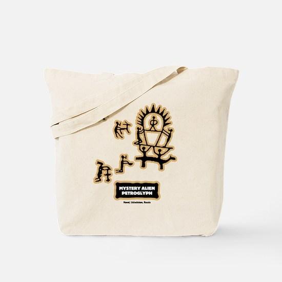 Mystery Alien Petroglyph Tote Bag