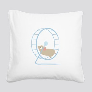 Hamster Wheel Square Canvas Pillow