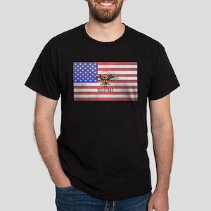 Military Eagle On American Flag T-Shirt